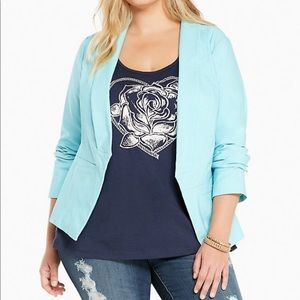 Torrid Blue Stretch Cut Away Blazer Jacket